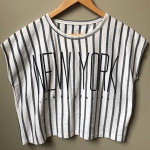 Tops - NEW YORK Sleeveless Striped Oversized Cropped Tank